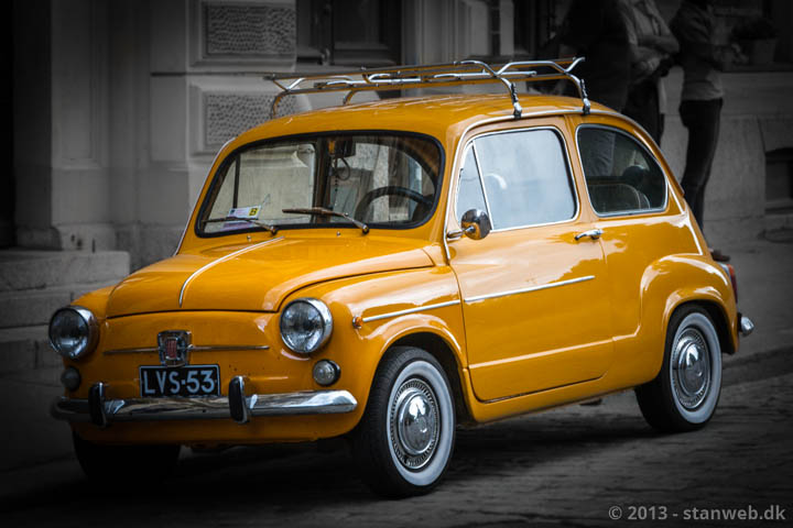 Yellow Fiat in Helsinki